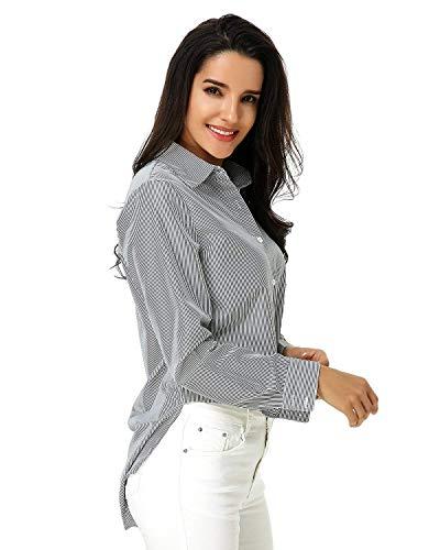 Office Boutonnage Simple Tops Automne Longues Branch Blouse Basic Revers Femme Schwarz Vetement Loisir Printemps Rayures Chemise Elgante Affaires Shirt Manches SBwAZqSn