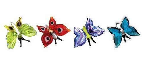Black Glass Figurine - Looking Glass Miniature Collectible - Butterflies (4-Pack)
