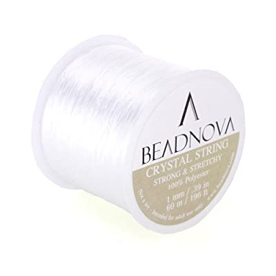 BEADNOVA 1mm Elastic Stretch Polyester Crystal String Cord for Jewelry Making Bracelet Beading Thread 60m/roll