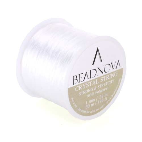 BEADNOVA-1mm-Elastic-Stretch-Polyester-Crystal-String-Cord-for-Jewelry-Making-Bracelet-Beading-Thread-60mroll