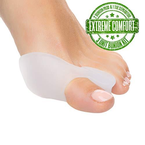 Bunion Corrector & Gel Toe Separator - Bunion Pain Relief, Hammer Toe Straightener, Bunion Pads, Hallux Valgus, Aid Surgery Treatment, Orthopedic Bunion Relief Kit, Toe Spacers, Diabetic feet, 3 Pack