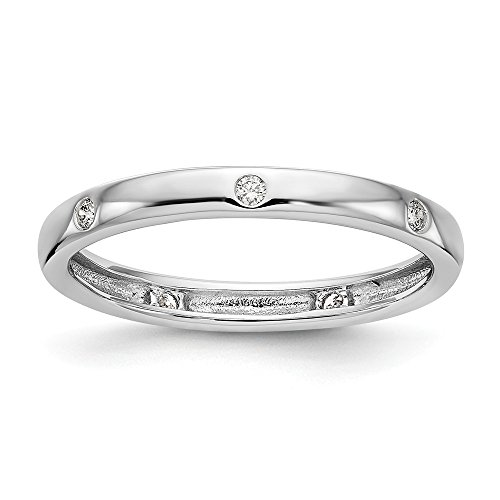 (FB Jewels 14k White Gold 1/10 CTW Bezel Set Diamond Eternity Band Size 5)