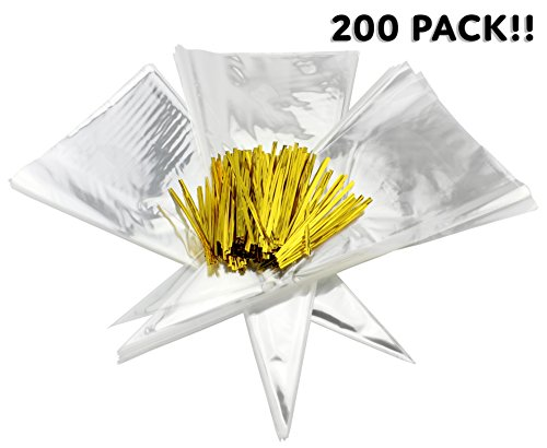Shaped Treat Bag - Cone-Shaped Treat Bags (200 Bags + 200 Twist Fastens); Clear Cellophane Goody, Treat & Popcorn Bags (12-Inch x 6.5 Inch)