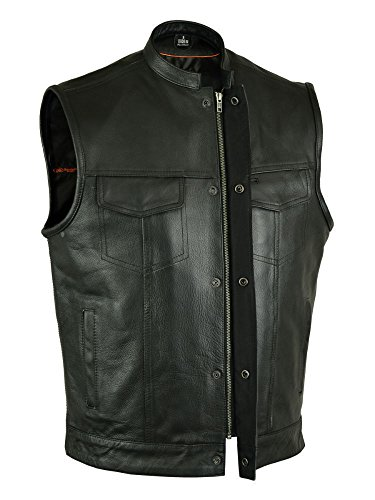(MEN'S MOTORCYCLE SONS OF ANARCHY BLK LEATHER VEST W/GUN CELL GLASSES POCKETS (XL, MENS SOA BIKER LEATHER)