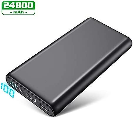 Feob Batería Externa, Batería Portátil para Movil 24800mAh【2019 Versión LCD 100%-0 】Powerbank Carga Rapida Cargador con 2 Puertos Salidas USB Batería ...