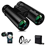 BFULL 10x42 Compact Binoculars for Adults, Powerful Binoculars with 21mm Large View Eyepiece, BAK4 Prism FMC Lens, Clear Weak Light Night Vision, Binoculars for Bird Watching Hunting - Waterproof