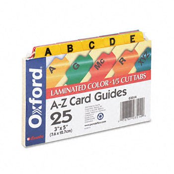 Oxford® Manila Index Card Guides with Laminated Tabs GUIDE,CARD 3X5 A-Z,AST 1460-4 (Pack of20) (Guides Manila Card Az Tab)