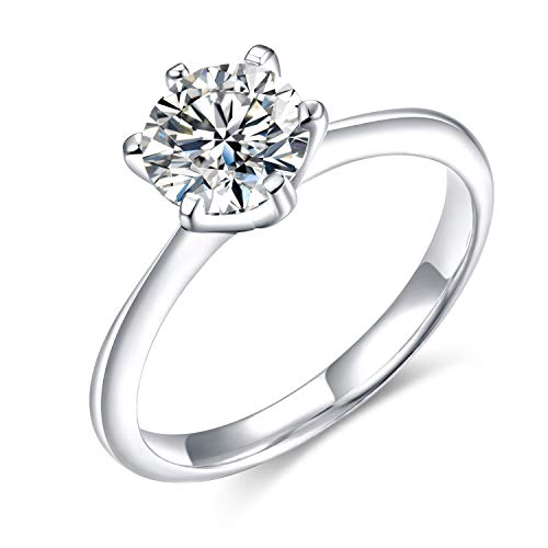 Ring Setting Prong Solitaire (SOMEN TUNGSTEN Cubic Zirconia CZ Solitaire Engagement Rings for Women 1ct 925 Sterling Silver Eternity Wedding Band (2mm, 6.5))