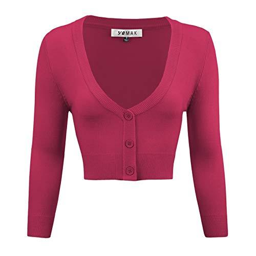YEMAK Women's Cropped 3/4 Sleeve Bolero Button Down Cardigan Sweater CO129-MGT-M Magenta ()