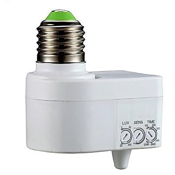 Fishtec ® Portalámparas con Detector de Movimientos, Casquillo E27 y 360º