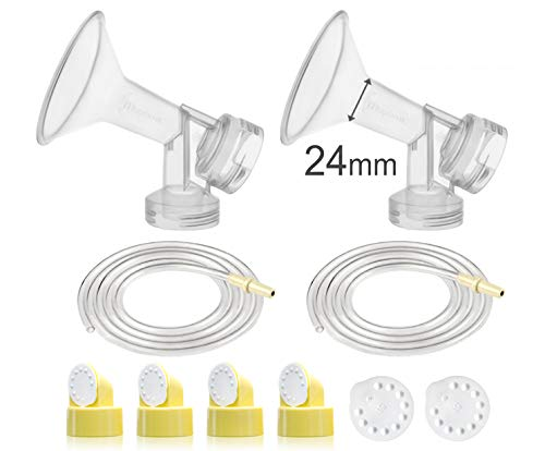 Maymom Pump Parts for Medela Pump in Style Advanced Pumps; w/Breastshields (24 mm, Can Replace Personal Fit 24 Shield and Connector), Valves, Membranes, Replacement Tubing for PumpinStyle Pump Parts