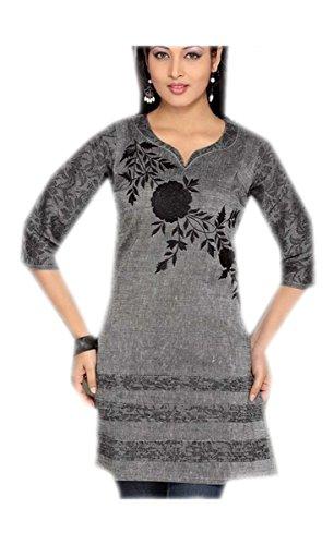 Jayayamala Blau Cotton Tunika mit U-Ausschnitt gestickte Tunika-Ober