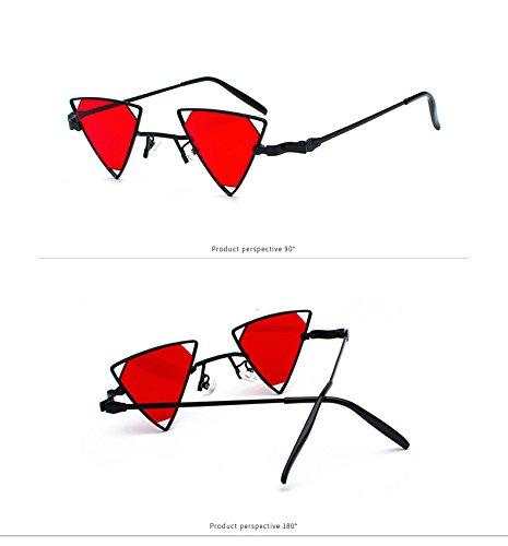 9822 Fygrend sunglass soleil soleil de C4 Femme Lunettes Femmes Tea objectif Tint Noir Rouge Personnalit¨¦ Lunettes ¨¦vider C3 M¨¦tal Brown Mode triangle femmes de TpPWcTrwFZ