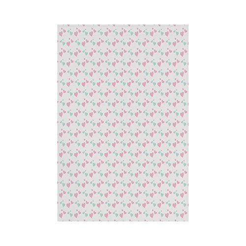 Polyester Garden Flag Outdoor Flag House Flag Banner,Kids,Girls Room Inspired Image of Cartoon Hearts Romantic Love Design,Light Pink Mint Green and White,for Wedding Anniversary Home Outdoor Garden D