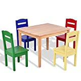 5 pcs Kids Pine Wood Multicolor Table Chair Set