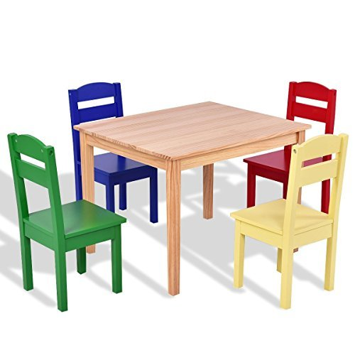 5 pcs Kids Pine Wood Multicolor Table Chair Set by Apontus