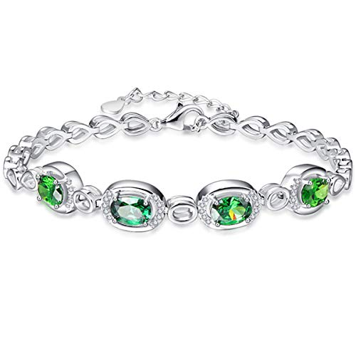 BONLAVIE Oval Design May Birthstone Created Green Emerald Sterling Silver Link Chain Bracelet for Bridal