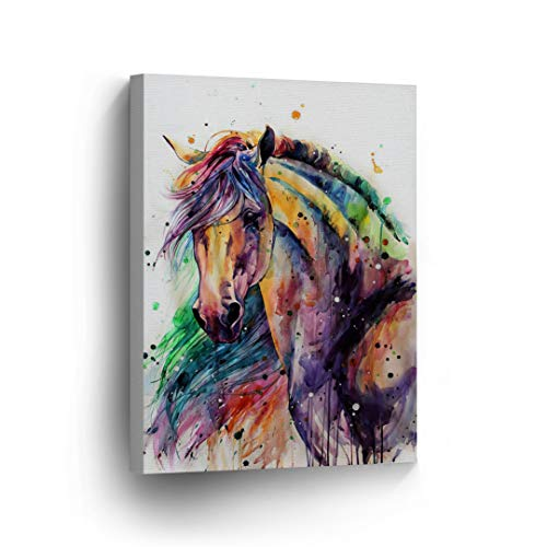 Horse Watercolor Painting Colorful Rainbow Portrait Canvas Print Decorative Art Wall Décor Artwork Wrapped Wood Stretcher Bars - Ready to Hang -%100 Handmade in The USA - 22x15