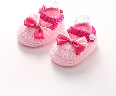 285c7379e2dd0 Amiley Baby First Crib Shoes,Infant Toddler Baby Girls Boys Crochet  Handmade Knit Anti-Slip Soft Sole Shoes First Walker Causal Crib Sneakers  Shoes (Pink