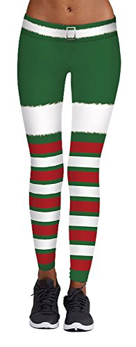 Tacky Outfit (White Green Red Stripe Print Tacky Chritsmas Leggings Pants Mother Claus Outfit)