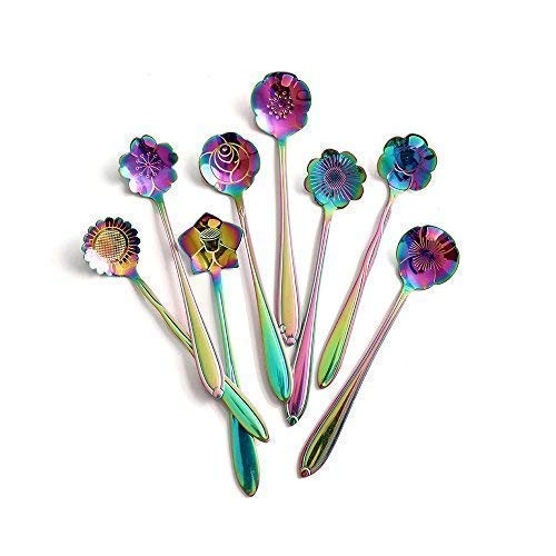 Flower Spoon Set - 8pcs DGQ Stainless Steel Teaspoon Rainbow Color for Coffee Tea Mixing Sugar Ice Cream Stir Bar Spoons - 8 Diffient Pattern Colorful Mini Cutlery Set