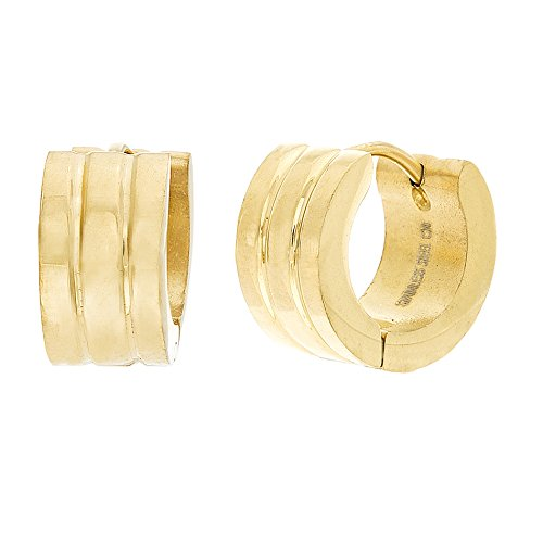 Gold Tone Stainless Steel 14mm Ribbed Huggie Hoop Earring