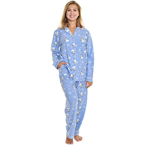 Angelina Women's Cozy Fleece Pajama Set, Snowman, XXXX-Large (Pajama Set Snowman)