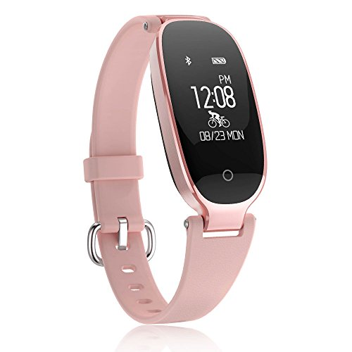 TOP-MAX Fitness Tracker,Women Sport Tracker Smart Heart Rate Monitor Watch Band Bracelet,Women Swimming Waterproof Wristband Watch with Health Sleep Activity Tracker Pedometer for Smart Phone