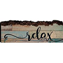 Relax Blue Wood Plank Design 6 x 16 Rustic Wood Bark Edge Wall Art Sign