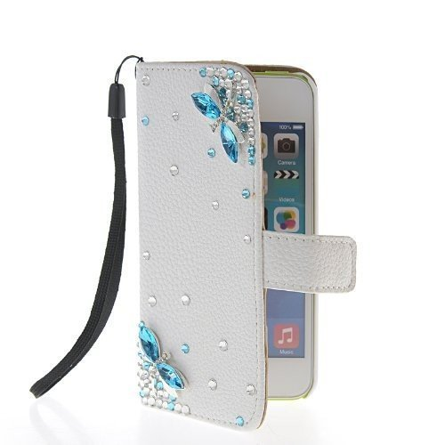 iPhone 5/5s Wallet Case, LA GO GO(TM) Handmade Luxury 3D Bling Crystal Rhinestone Wallet Leather Purse Flip Card Pouch Stand Cover Case for Apple iPhone 5 5s 5g (Blue Dragonfly, iPhone 5/5s)