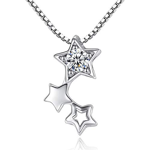 Davitu 925 Sterling Silver Necklace Flashing Samsung Light Zircon Hollow Necklaces & Pendants for Women Fine Jewelry Collares VNS8025 - (Metal Color: with Box Chain)