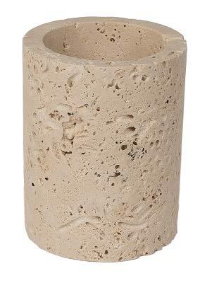 TashMart 3-Piece Natural Stone Bathroom Accessory Set in Light Travertine