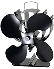 4-Blade Heat Powered Stove Fan for Wood/Log Burner/Fireplace Increases 80% More Warm air Than 2 Blade Fan- Eco Friendly(Black)