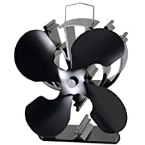4-Blade Heat Powered Stove Fan for Wood/Log Burner/Fireplace Increases 80% More Warm air Than 2 Blade Fan- Eco Friendly