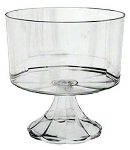 12 Heavy Weight Disposable Plastic Clear Pedestal Trifle Bowl 120 oz Trifle Bowls Also Used as Clear Serving Bowls Pasta Bowls Salad Bowl Fruit Bowl Punchbowl Popcorn bowl ...]()