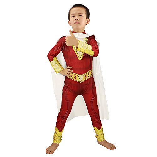 HuangWeida Boys' Costume Jumpsuit Costume with Superhero Capes Kids' Fancy Dress Red