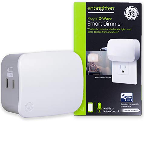 GE Enbrighten Z-Wave Plus Smart Plug Polarized, Full Light Dimming, Built-in Repeater/Range Extender, Zwave Hub Required, Works with SmartThings Wink and Alexa, 28167, White 1-Outlet Dimmer (Smart Plug Wifi Dimmer)