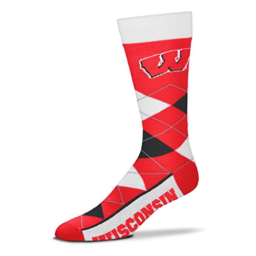 Wisconsin Badger Logo Watch - For Bare Feet Wisconsin Badgers Argyle Unisex Crew Cut Socks - One Size Fits Most