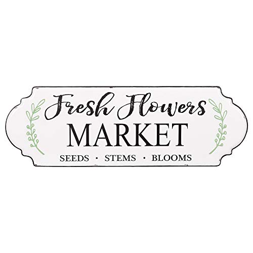 Patton Wall Decor Farmers Market Fresh Flowers Hand Painted Tin Enamel Sign Wall Decor White ()