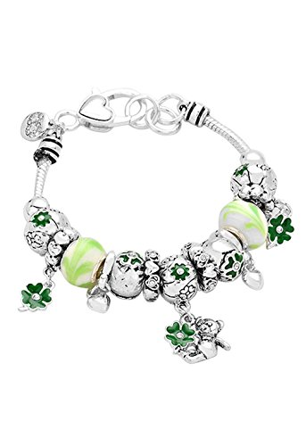 Rosemarie Collections Women's Irish Clover Teddy Bear Glass Bead Charm Bracelet