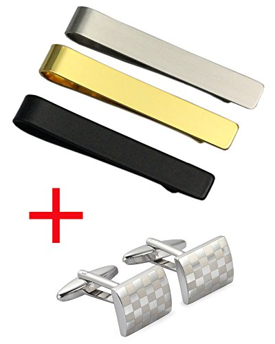[3PCS Mens Tie Bar Clip +(1Pair Free Cufflinks Set) for Regular Ties 2.1 Inch,Silver Black & 18K Gold ,Combine with Cufflinks Tack or Money Clips Neckties (3PCS:silver,gold,black)] (Plated Clip)
