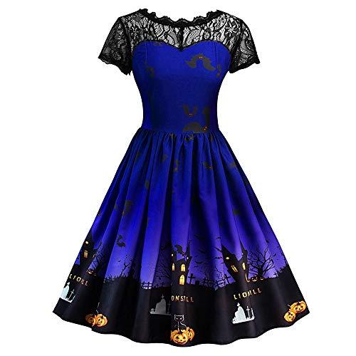WUAI Halloween Dress for Women Plus Size, Women Pumpkin Skater Swing Dress A-line Lace Skull Dress(Blue,Medium)