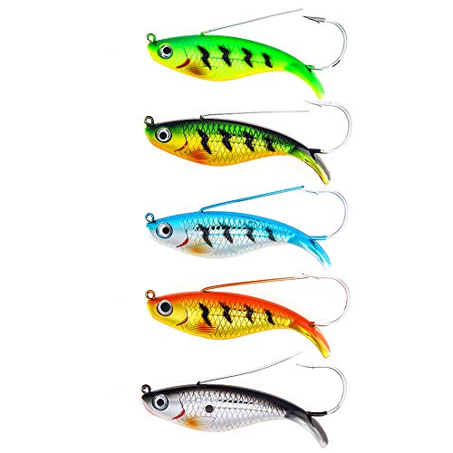 "DOITPE Fishing Lures Weedless Minnow Spoon Rattling Hard Baits with BKK Hooks in Saltwater and Freshwater in Saltwater and Freshwater for Bass Trout Walleye Pike Musky (Combo A(5pcs,3.4""/0.75oz))"
