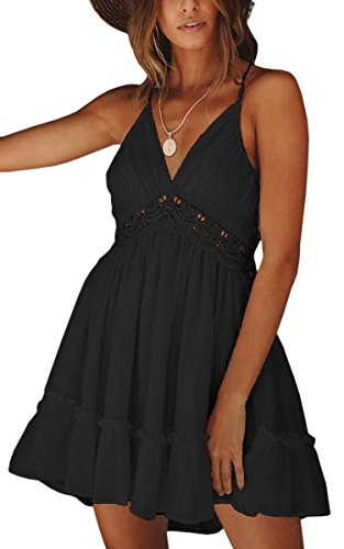 (ECOWISH Womens V-Neck Spaghetti Strap Bowknot Backless Sleeveless Lace Mini Swing Skater Dress Black 2 XL)