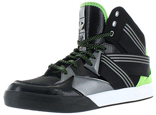 Adidas Originali Mens C-10 Scarpa Da Basket Nero / Ferro Metallizzato / Verde Solare