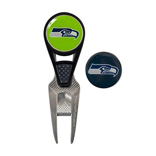Team Effort NFL Seattle Seahawks CVX Ball Mark Repair Tool & 2 Ball Markers