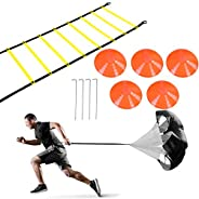 Rehomy Speed & Agility Training Set, Includes 1 Resistance Parachute & 6m 12-Section Agility Speed Lad