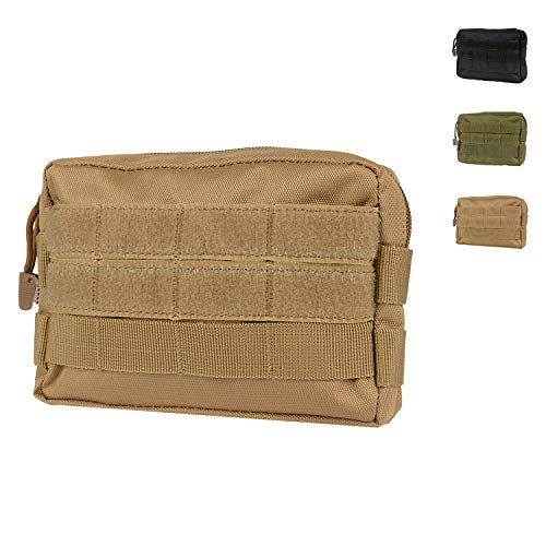 Infityle MOLLE Pouches - Tactical EDC Compact Multi-Purpose Water-Resistant Utility Gadget Gear Hanging Waist Bags (Tan 1 Pack, Tactical Pouches)