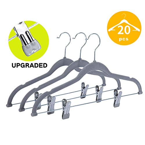Qiangson Velvet Hangers with Clips 20 Pack Trousers Pants Hangers Non-Slip Ultra Thin Coat Hangers with 360 ° Swivel Hook Grooves for Suits, Skirts, Dresses, Tank Tops, Slip Clothes 16.5inch Gray