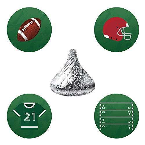 MAGJUCHE Football Candy Stickers, Superbowl Boy Baby Shower Birthday Party Favor Labels, Fit Hershey's Kisses, 304 Count ()